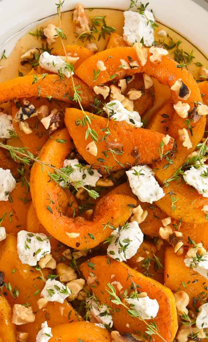 Roasted butternut squash with maple syrup, toasted walnuts and goat cheese.