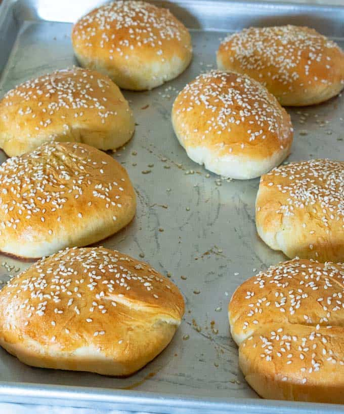 Homemade sandwich buns with sesame seeds.