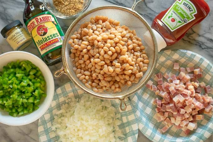 Ingredients for stovetop baked beans.