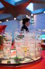 empty glasses at Heineken Experience