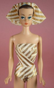 Product Listing   fashion queen 12687 1963 FASHION QUEEN BARBIE  1963  with very nice blush   comes complete with  swimsuit  turban  shoes  3 wigs and wigstand  and repro earrings