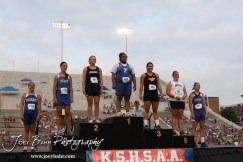Winners of the Class 1A Girls Shot Put pose on the podium after receiving their medals during the 2012 KSHSAA State Track and Field Championship at Cessna Stadium on the campus of Wichita State University in Wichita, Kansas on May 25, 2012. (Photo: Joey Bahr, www.joeybahr.com)