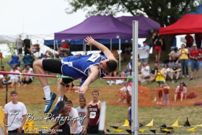Goddard-Eisenhower's Zach Bush tries to clear the bar in the Class 5A Boys High Jump during the 2012 KSHSAA State Track and Field Championship at Cessna Stadium on the campus of Wichita State University in Wichita, Kansas on May 25, 2012. (Photo: Joey Bahr, www.joeybahr.com)
