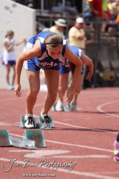Hannah Bannister of Otis-Bison launches out of the starting blocks in the Preliminaries of the Class 1A Girls 400 Meter Dash during the 2012 KSHSAA State Track and Field Championship at Cessna Stadium on the campus of Wichita State University in Wichita, Kansas on May 25, 2012. (Photo: Joey Bahr, www.joeybahr.com)