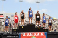 The winners of the Class 1A Girls Javelin stand on the podium to receive their medals during the 2012 KSHSAA State Track and Field Championship at Cessna Stadium on the campus of Wichita State University in Wichita, Kansas on May 25, 2012. (Photo: Joey Bahr, www.joeybahr.com)