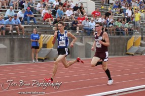 Plainville's Brady Johnson tries to pass Ness City's Kyle Schauvilege as they near the end of the Class 2A Boys 3200 Meter Run during the 2012 KSHSAA State Track and Field Championship at Cessna Stadium on the campus of Wichita State University in Wichita, Kansas on May 25, 2012. (Photo: Joey Bahr, www.joeybahr.com)