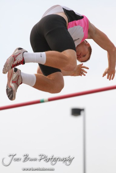 Shawnee Mission North's Max Johnson clears the bar in the Class 6A Boys Pole Vault during the 2012 KSHSAA State Track and Field Championship at Cessna Stadium on the campus of Wichita State University in Wichita, Kansas on May 26, 2012. (Photo: Joey Bahr, www.joeybahr.com)