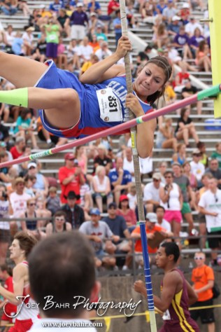 Ellinwood's Becky Elsen clears the bar at the Class 2A Girls Pole Vault during the 2012 KSHSAA State Track and Field Championship at Cessna Stadium on the campus of Wichita State University in Wichita, Kansas on May 26, 2012. (Photo: Joey Bahr, www.joeybahr.com)