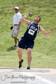 Ethan Young of Cheylin throws in the Class 1A Boys Shot Put during the 2012 KSHSAA State Track and Field Championship at Cessna Stadium on the campus of Wichita State University in Wichita, Kansas on May 26, 2012. (Photo: Joey Bahr, www.joeybahr.com)