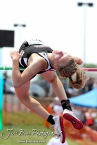 Rossville's Shannon Parr attempts to clear the bar in the Class 3A Girls High Jump during the 2012 KSHSAA State Track and Field Championship at Cessna Stadium on the campus of Wichita State University in Wichita, Kansas on May 26, 2012. (Photo: Joey Bahr, www.joeybahr.com)