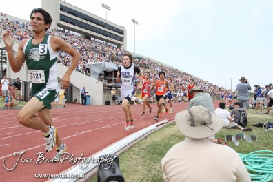 DeSoto's Angel Vasquez leads a group of runners in the Class 4A Boys 1600 Meter Run during the 2012 KSHSAA State Track and Field Championship at Cessna Stadium on the campus of Wichita State University in Wichita, Kansas on May 26, 2012. (Photo: Joey Bahr, www.joeybahr.com)