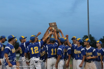 The Nickerson Panthers hold up the 4A Regional Baseball Championship plaque after their 4-1 victory over the Colby Eagles at the KSHSAA 4A Regional Baseball Championship at Legion Field in Hoisington, Kansas on May 16, 2012. (Photo: Joey Bahr, www.joeybahr.com)