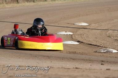 Gratton Dalton(#73) drives at the Ness County Speedway Kart Races sponsored by Walker Tank Service at Ness County Speedway in Ness City, Kansas on August 18, 2012. (Photo: Joey Bahr, www.joeybahr.com)