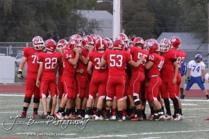 The McPherson Bullpups huddle before the kickoff of the Winfield at McPherson football game that ended in a 47 to 8 victory for the Bullpups at the McPherson Stadium in McPherson, Kansas on September 28, 2012. (Photo: Joey Bahr, www.joeybahr.com)
