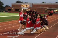 The McPherson Bullpups Cheerleaders fire up the crowd during the Winfield at McPherson football game that ended in a 47 to 8 victory for the Bullpups at the McPherson Stadium in McPherson, Kansas on September 28, 2012. (Photo: Joey Bahr, www.joeybahr.com)