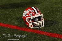 A McPherson Bullpups helmet sits on the field during Halftime at the Winfield at McPherson football game that ended in a 47 to 8 victory for the Bullpups at the McPherson Stadium in McPherson, Kansas on September 28, 2012. (Photo: Joey Bahr, www.joeybahr.com)