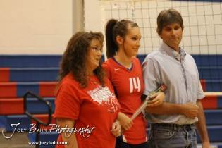Ellinwood Lady Eagle Devann Patten (#14) is introduced with her parents before the Central Plains Lady Oilers at Ellinwood Lady Eagles volleyball match at Ellinwood High School in Ellinwood, Kansas on October 11, 2012. (Photo: Joey Bahr, www.joeybahr.com)