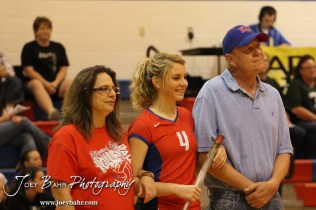 Ellinwood Lady Eagle Lindsey Zink (#4) is introduced with her parents before the Central Plains Lady Oilers at Ellinwood Lady Eagles volleyball match at Ellinwood High School in Ellinwood, Kansas on October 11, 2012. (Photo: Joey Bahr, www.joeybahr.com)