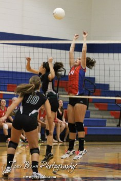 Ellinwood Lady Eagle Devann Patten (#14) reaches to block a shot from Central Plains Lady Oiler Taylor Rolfs (#14) during the Central Plains Lady Oilers at Ellinwood Lady Eagles volleyball match at Ellinwood High School in Ellinwood, Kansas on October 11, 2012. (Photo: Joey Bahr, www.joeybahr.com)