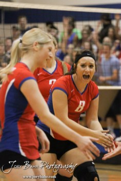 Ellinwood Lady Eagle Amanda Tucker (#8) celebrates a point during the Central Plains Lady Oilers at Ellinwood Lady Eagles volleyball match at Ellinwood High School in Ellinwood, Kansas on October 11, 2012. (Photo: Joey Bahr, www.joeybahr.com)