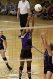Wilson Lady Dragon Shania Steinike (#13) goes up to block a ball during the Wilson versus Weskan KSHSAA Class 1A Division II State Volleyball Pool II match with Weskan winning 26-24, 25-12 in Hays, Kansas on October 26, 2012. (Photo: Joey Bahr, www.joeybahr.com)