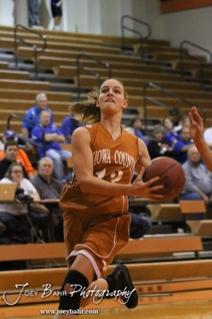 Kiowa County Lady Maverick Heather Melton (#13) goes up for a layup during the Larned Lady Indians versus Kiowa County Lady Mavericks First Round Game with Larned winning 50 to 39 at the 6th Annual Keady Basketball Classic held at Larned Middle School in Larned, Kansas on December 3, 2012. (Photo: Joey Bahr, www.joeybahr.com)