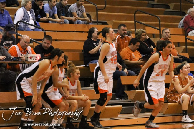 Five Larned Lady Indians sub in at one time during the Larned Lady Indians versus Kiowa County Lady Mavericks First Round Game with Larned winning 50 to 39 at the 6th Annual Keady Basketball Classic held at Larned Middle School in Larned, Kansas on December 3, 2012. (Photo: Joey Bahr, www.joeybahr.com)