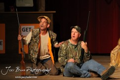 """Duane played by K.B. Bell and Duwell played by Charlie Dixon perform during the Great Bend Community Theater's final rehearsal of """"Duck Hunter Shoots Angel"""" by Mitch Albom at Crest Theater in Great Bend, Kansas on April 17, 2013. (Photo: Joey Bahr, www.joeybahr.com)"""