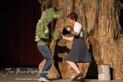 """Gator Creature/Phil played by Lynn Benefield and Woman played by Claudia Wyatt dance at the beginning of the Second Act during the Great Bend Community Theater's final rehearsal of """"Duck Hunter Shoots Angel"""" by Mitch Albom at Crest Theater in Great Bend, Kansas on April 17, 2013. (Photo: Joey Bahr, www.joeybahr.com)"""