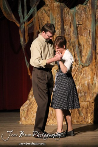 """Sandy played by Doug Simmons and Woman played by Claudia Wyatt dance during the Great Bend Community Theater's final rehearsal of """"Duck Hunter Shoots Angel"""" by Mitch Albom at Crest Theater in Great Bend, Kansas on April 17, 2013. (Photo: Joey Bahr, www.joeybahr.com)"""