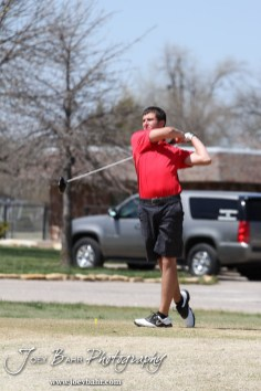 Liberal Redskin Blake Brenneman tees off during the Great Bend High School Boys Golf Invitational Tournament at The Club at Stoneridge in Great Bend, Kansas on April 29, 2013. (Photo: Joey Bahr, www.joeybahr.com)