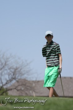 Salina South Cougar Tim Kroeker looks at where his ball lies during the Great Bend High School Boys Golf Invitational Tournament at The Club at Stoneridge in Great Bend, Kansas on April 29, 2013. (Photo: Joey Bahr, www.joeybahr.com)