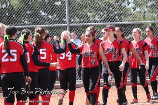 Members of the two teams shake hands at the end of the Liberal Lady Redskins at Great Bend Lady Panthers Softball Double Header with Great Bend winning both games 18-0 (3 innings) 13-0 at Barton Community College Softball Field in Great Bend, Kansas on April 27, 2013. (Photo: Joey Bahr, www.joeybahr.com)