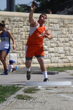 Sam Higgason of Otis-Bison competes in the shot put during the 2013 KSHSAA Class 1A Regional Track and Field competition at Lewis Field on the campus of Fort Hays State University in Hays, Kansas on May 17, 2013. (Photo: Joey Bahr, www.joeybahr.com)