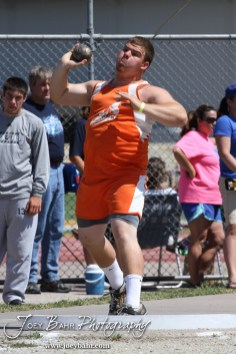 Otis-Bison's Sam Higgason competes in the shot put during the 2013 KSHSAA Class 1A Regional Track and Field competition at Lewis Field on the campus of Fort Hays State University in Hays, Kansas on May 17, 2013. (Photo: Joey Bahr, www.joeybahr.com)