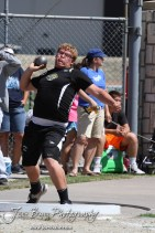 LaCrosse Leopard Cole Kershner throws the shot put in the preliminaries during the 2013 KSHSAA Class 1A Regional Track and Field competition at Lewis Field on the campus of Fort Hays State University in Hays, Kansas on May 17, 2013. (Photo: Joey Bahr, www.joeybahr.com)