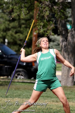A Northern Valley competitor throws the javelin during the 2013 KSHSAA Class 1A Regional Track and Field competition at Lewis Field on the campus of Fort Hays State University in Hays, Kansas on May 17, 2013. (Photo: Joey Bahr, www.joeybahr.com)