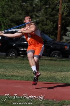 Sam Higgason of Otis-Bison throws the Javelin during the 2013 KSHSAA Class 1A Regional Track and Field competition at Lewis Field on the campus of Fort Hays State University in Hays, Kansas on May 17, 2013. (Photo: Joey Bahr, www.joeybahr.com)