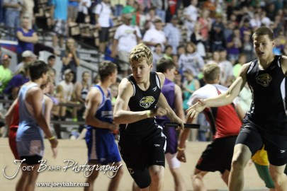 LaCrosse runners handoff the baton during the Boys 4x400 Meter Relay during the 2013 KSHSAA Class 1A Regional Track and Field competition at Lewis Field on the campus of Fort Hays State University in Hays, Kansas on May 17, 2013. (Photo: Joey Bahr, www.joeybahr.com)