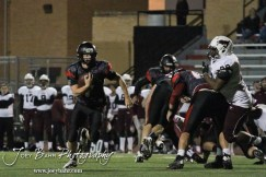 Great Bend Panther Bryce Beck (#7 ) runs around the corner during the Salina Central versus Great Bend High School Football game with Salina Central winning 41 to 14 at Memorial Field in Great Bend, Kansas on October 25, 2013. (Photo: Joey Bahr, www.joeybahr.com)