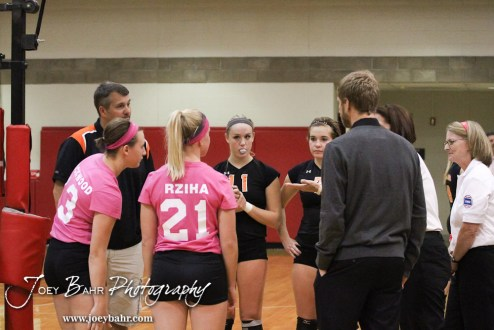 Captains and Coaches for both teams meet with the Officials before the Hoisington versus Smoky Valley volleyball match with Hoisington winning in two sets at Hoisington Activity Center in Hoisington, Kansas on October 22, 2013. (Photo: Joey Bahr, www.joeybahr.com)