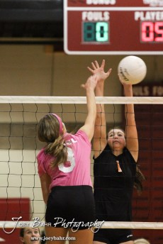 Hoisington Lady Cardinal Abbi Demel (#8) hits the ball over the net while Smoky Valley Lady Viking Kelsie Anderson (#1) sets a wall during the Hoisington versus Smoky Valley volleyball match with Hoisington winning in two sets at Hoisington Activity Center in Hoisington, Kansas on October 22, 2013. (Photo: Joey Bahr, www.joeybahr.com)