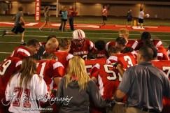 The Hoisington Cardinals pray after the Larned at Hoisington High School Football game with Hoisington winning 27 to 9 at Elton Brown Field in Hoisington, Kansas on October 11, 2013. (Photo: Joey Bahr, www.joeybahr.com)