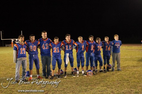 The Otis-Bison Cougars Freshmen take a team picture following the Sylvan-Lucas vs Otis-Bison High School football game with Otis-Bison winning 32 to 30 at Otis-Bison High School Field in Otis, Kansas on October 31, 2013. (Photo: Joey Bahr, www.joeybahr.com)