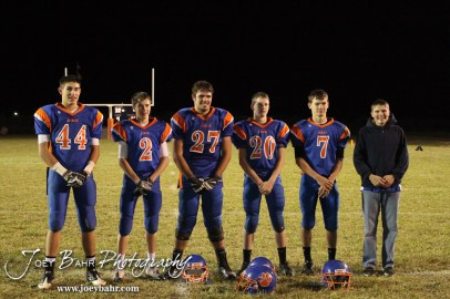 The Otis-Bison Cougars Sophomores take a team picture following the Sylvan-Lucas vs Otis-Bison High School football game with Otis-Bison winning 32 to 30 at Otis-Bison High School Field in Otis, Kansas on October 31, 2013. (Photo: Joey Bahr, www.joeybahr.com)