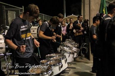 The Salina South Cougar Drum Line perform following the Great Bend versus Salina South High School football game with Salina South winning 56 to 13 at Salina Stadium in Salina, Kansas on November 1, 2013. (Photo: Joey Bahr, www.joeybahr.com)