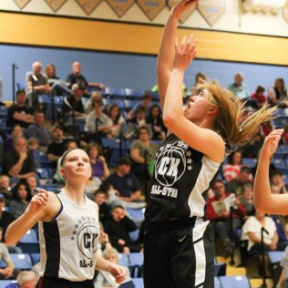 during the Central Kansas High School All-Stars Girls Basketball Game at LT and Shelia Fleske Court in the Kirkman Activity Center on the Campus of Barton Community College in Great Bend, Kansas on March 30, 2014. (Photo: Joey Bahr, www.joeybahr.com)