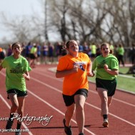 during the Junior High Oiler Relays Track Meet at Barton Community College Track and Field Complex in Great Bend, Kansas on April 10, 2014. (Photo: Joey Bahr, www.joeybahr.com)