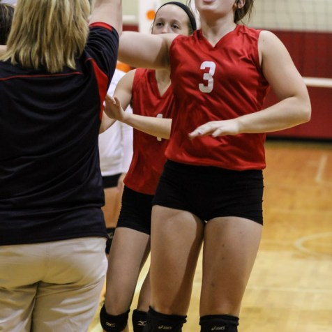 Kingman Lady Eagle Allison DeWeese (#3) slaps the hand of her coach during the Kingman Lady Eagles versus Larned Lady Indians volleyball match with Kingman winning 25-21, 24-26, 25-15 at Hoisington Activity Center in Hoisington, Kansas on September 9, 2014. (Photo: Joey Bahr, www.joeybahr.com)