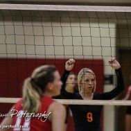 Larned Lady Indian Kaitlyn Nolde (#9) watches for the ball to be served during the Kingman Lady Eagles versus Larned Lady Indians volleyball match with Kingman winning 25-21, 24-26, 25-15 at Hoisington Activity Center in Hoisington, Kansas on September 9, 2014. (Photo: Joey Bahr, www.joeybahr.com)